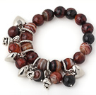 Nice Faceted Round Banded Agate Beaded Bracelet With Tibet Silver Heart Rabbit Charm Accessories
