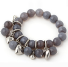 Fashion 12mm facetterede runde Gray Agate Beaded Armbånd med Tibet Silver Heart Lucky Bag Charm Tilbehør