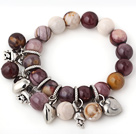 Fashion 12mm Round Silver Leaf Agate Beaded Bracelet With Tibet Silver Heart Rabbit Charm Accessories