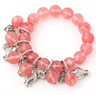 Fashion Round Cherry Quartz Beaded Bracelet With Tibet Silver Fish Lucky Bag Charm Accessories