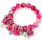 Elegant Round Rose Agate Beaded Bracelet With Tibet Silver Fish Leaf Charm Accessories under $ 40