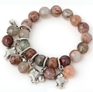 Fashion 12mm Round Colorful Quartz Beaded Bracelet With Tibet Silver Fish Lucky Bag Charm Accessories under $ 40