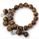 Mooie 12mm Ronde Tiger Eye kralen armband met Tibet Silver Fish Lucky Bag Charm Accessoires
