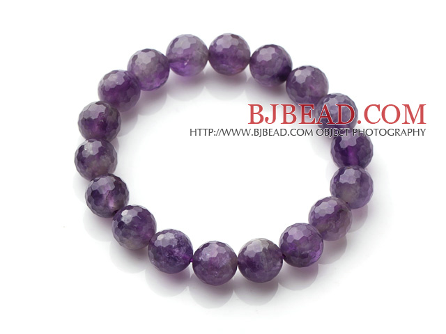 Chic Simple Design Single Strand 10mm Round Natural Faceted Amethyst Beads Elastic Bracelet