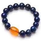Classic Single Strand Natural Round Lapis And Oval Shape Orange Amber Elastic Bracelet under $ 40
