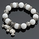 Charming 12mm Round White Porcelain Stone Beaded Bracelet With Tibet Silver Fish Ball Lucky Bag Charm Accessories
