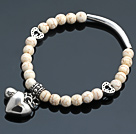 Nice Round White Turquoise And Tibet Silver Tube Heart Lucky Bag Charm Beaded Bracelet