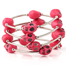Fashion Multilayer Red Skull Turkis Wired Wrap Armbånd Armbånd