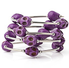 Fashion Multilayer Purple Skull Turquoise Wired Wrap Bangle Bracelet
