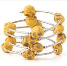 Niza Multilayer Yellow Skull Turquoise Wired Wrap pulsera del brazalete