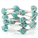 Charming Multilayer Blue Skull Turquoise Wired Wrap Bangle Bracelet