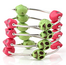 Beautiful Multilayer Green And Red Skull Turquoise Wired Wrap Bangle Bracelet