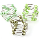 Fashion 3 Pcs 12mm Green Series Round Seashell Beads Wired Wrap Bangle Bracelet