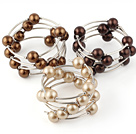 Fashion 3 Pcs 12mm Brown Series Round Seashell Beads Wired Wrap Bangle Bracelet