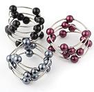 Moda 3 piezas de 12 mm Rojo Y Negro Ronda Seashell perlas Wired Wrap pulsera del brazalete