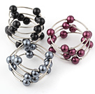 Fashion 3 Pcs 12mm Red And Black Round Seashell Beads Wired Wrap Bangle Bracelet