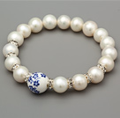 Elegant A Grade Natural White Freshwater Pearl And Carved Flower Porcelain Ball Bracelet With Rhinestone Charm