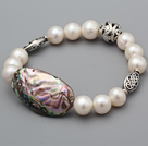 Beautiful A Grade Natural White Freshwater Pearl And Abalone Shell Bracelet With Ball Charms