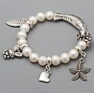 Fashion 8,5- 9mm A Grade Natural White Zoetwater Parel kralen armband met Vissen Blad Starfish Charm Accessoires