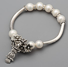 Fashion 8.5-9mm A Grade Natural White Freshwater Pearl Rhinestone Bracelet With Tube Flower Owl Charm Accessories