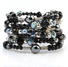 Fashion Multilayer Black Blister Pearl And Multi Color Crystal Wired Wrap Bangle Bracelet With Silver Color Round Beads