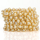 Fashion Multilayer 5-6mm Natural Golden Freshwater Pearl Wired Wrap Beaded Bangle Bracelet