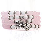 Lovely Multilayer Round Pink Candy Jade And White Porcelain Beads Stretch Bangle Bracelet With Tibet Silver Elephant Charms
