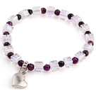 Lovely Faceted Round Purple Agate And White Square Crystal Beads Bracelet With Heart Charm