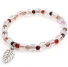 Lovely Faceted Round Colorful Agate And White Square Crystal Beads Bracelet With Leaf Charm under $ 40