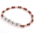 Nice Round Goldstone And White Square Crystal Beads Charm Bracelet