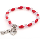 Nice Oval Red Coral And White Square Crystal Beads Bracelet With Love Heart Charms