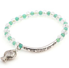 Nice Round Green Agate And Faceted Round White Crystal Beads Bracelet With Tube Fish Charms