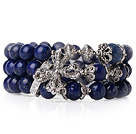 Fashion Style Popular Multi Strands Natural Round Lapis Beads Bracelet With Tibet Silver Cross Accessory