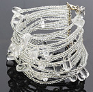 Fashion Multilayer White Crystal And Glass Beads Wired Wrap Bangle Bracelet With Lobster Clasp