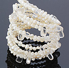 Fashion Multilayer White Freshwater Pearl And Crystal Wired Wrap Bangle Bracelet With Lobster Clasp