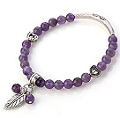Fashion Round Amethyst Beaded Bracelet With Tibet Silver Tube Heart And Leaf Charm Accessories