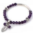 Moda facetada redonda Ametista bracelete frisado Com Tibete Coração tubo prata e folha de Charme Acessórios