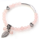 Lovely Round Rose Quartz Beaded Bracelet With Tibet Silver Tube Heart And Leaf Charm Accessories