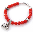 Dejlig 7mm Round Red Coral Beaded Armbånd med Tibet sølv Tube Heart And Lucky Bag Charms