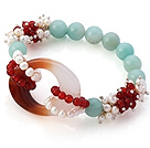 New Design Cluster White Pearl Round Red Agate And Amazon Hollow Agate Link Stretch Bracelet