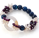 New Design Cluster White Pearl And Faceted Round Purple Blue And Hollow White Agate Link Connection Elastic Bracelet