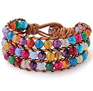 Pretty Hand-Knotted Multilayer Faceted Round Colorful Agate Brown Leather Wrap Bracelet