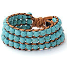 Pretty Hand-Knotted Multilayer 6mm Round Blue Turquoise Brown Leather Wrap Bracelet