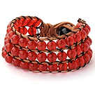 Pretty Hand-Knotted Multilayer 6mm Round A Grade Red Agate Brown Leather Wrap Bracelet