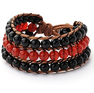 Pretty Hand-Knotted Multilayer 6mm Round A Grade Red And Black Agate Brown Leather Wrap Bracelet