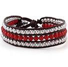 Fashion 4mm Hand-Knotted Multilayer Round Red Coral And Silver Beads Reddish Brown Leather Wrap Bracelet under $ 40