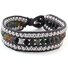 Fashion 4mm Hand-Knotted Multilayer Round Colorful Indian Agate And Silver Beads Leather Wrap Bracelet