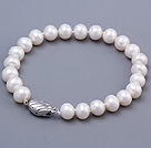 Fashion 8-9mm Natural White Freshwater Pearl Beaded Bracelet With Special Clasp