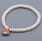 Fashion 5-6mm Natural White Abacus Shape Freshwater Pearl Beaded Bracelet With Rose Golden Hollow Heart Charm