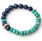 Elegant Faceted Xinjiang Green Turquoise And Round Lapis Beads Stretch Bangle Bracelet